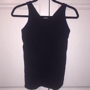 Crossed strap Lululemon black top with zipper